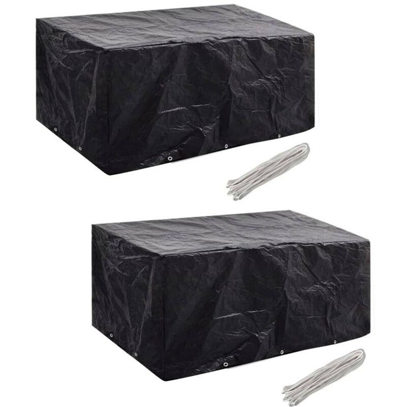 Housses de mobilier de jardin 2 pcs Rotin 10 ?illets 240x140 cm HDV21359 - Hommoo