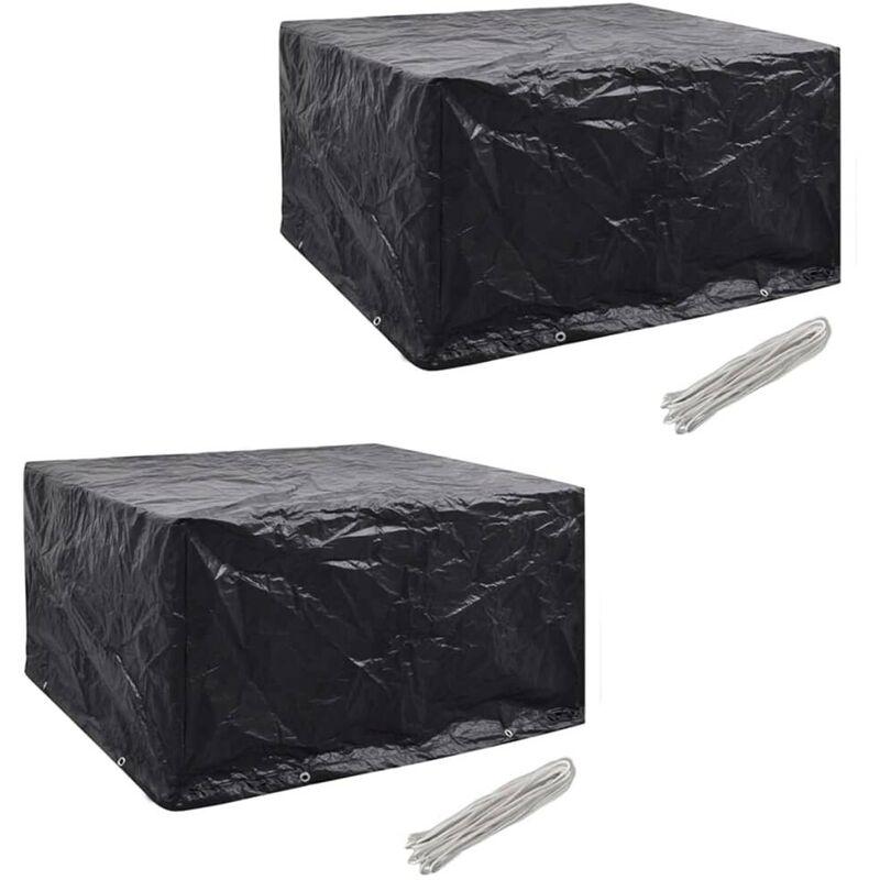 Housses de mobilier de jardin 2 pcs Rotin 8 ?illets 172x113 cm HDV21356 - Hommoo
