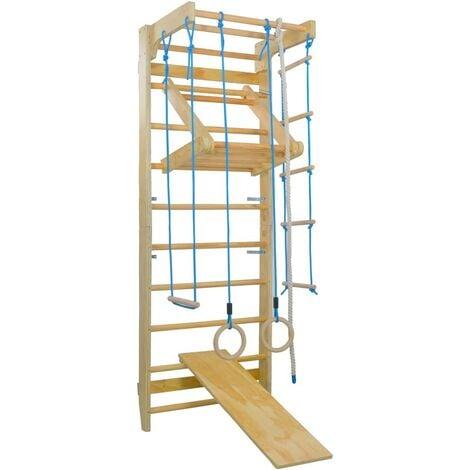 Hommoo Indoor Climbing Playset with Ladders Rings Slide Wood