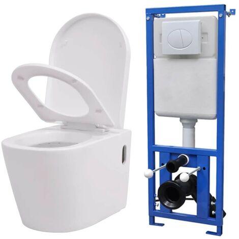 Hommoo Inodoro de pared con cisterna oculta cerámica blanco
