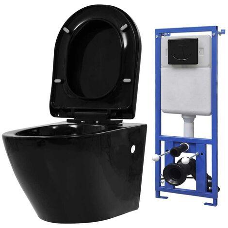 Hommoo Inodoro de pared con cisterna oculta cerámica negro