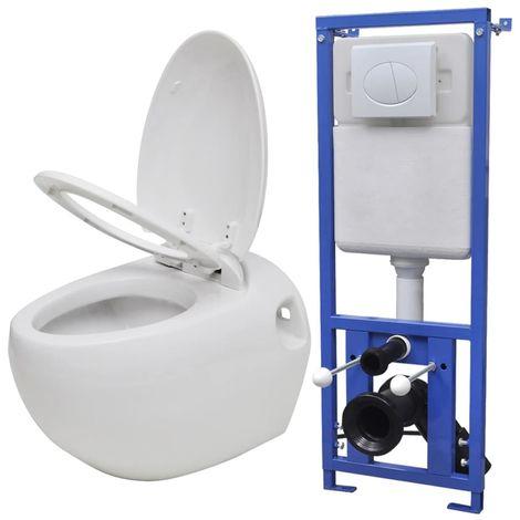 Hommoo Inodoro suspendido a la pared con cisterna oculta blanca