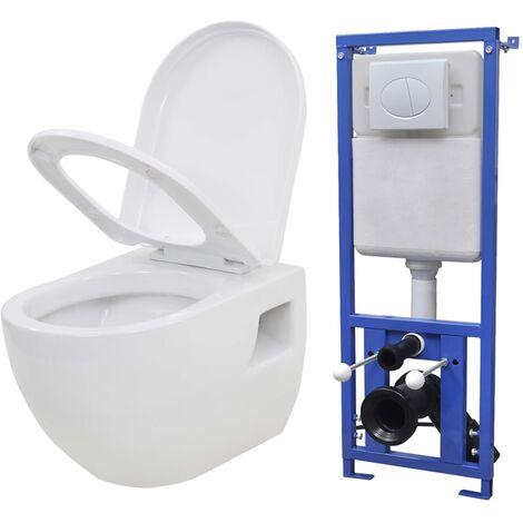 Hommoo Inodoro suspendido de pared con cisterna oculta cerámica blanco HAXD18682