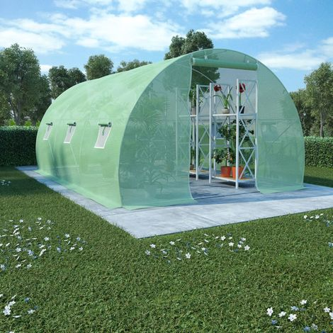 Hommoo Invernadero con cimientos de acero 13,5m2 450x300x200 cm