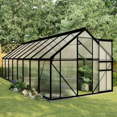 Hommoo Invernadero con estructura de aluminio gris antracita 29,79 m3
