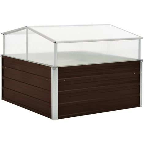 Hommoo Invernadero de acero galvanizado marrón 100x100x85 cm