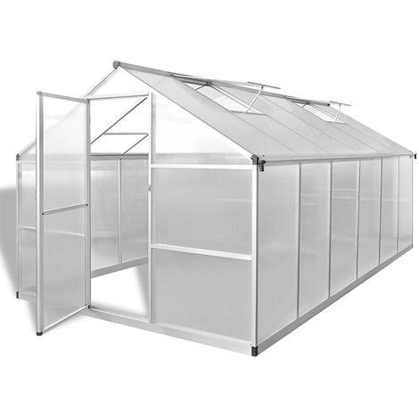 Hommoo Invernadero de aluminio reforzado con marco base 9,025 m2