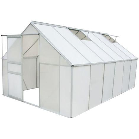 Hommoo Invernadero de policarbonato y aluminio 371x250x195 cm