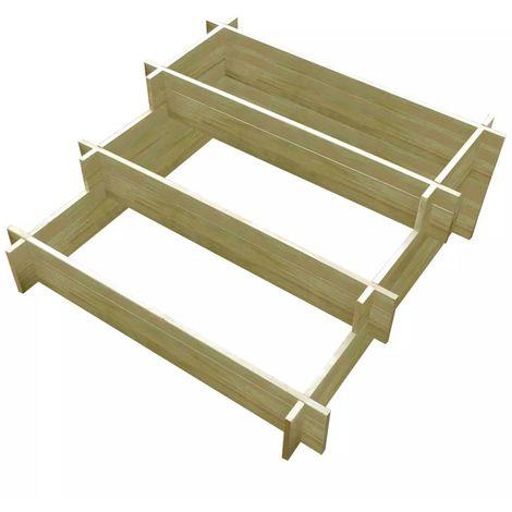 Hommoo Jardinera con 3 niveles de madera impregnada 90x90x35 cm