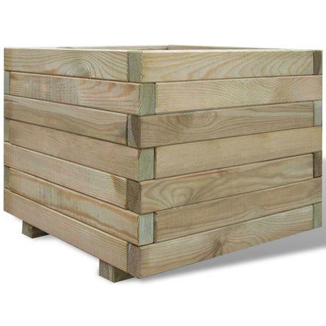 Hommoo Jardinera cuadrada madera 50x50x40 cm