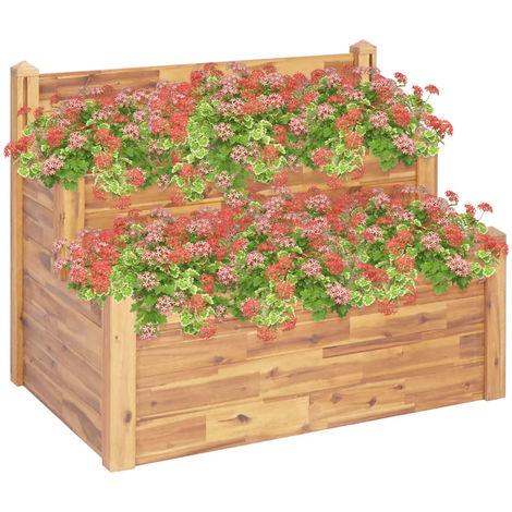 Hommoo Jardinera de 2 niveles madera maciza de acacia 110x75x84 cm