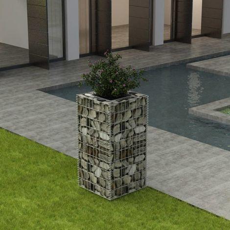 Hommoo Jardinera de gaviones de acero 50x50x100 cm