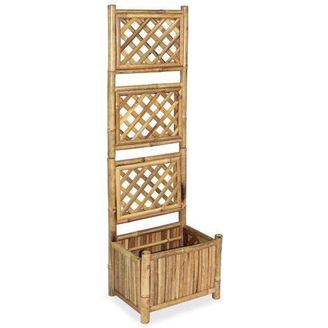 Hommoo Jardinera de jardín con enrejado de bambú 40 cm