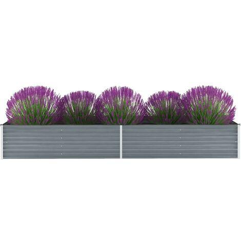Hommoo Jardinera de jardín de acero galvanizado 320x80x45 cm gris