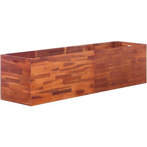 Hommoo Jardinera de madera de acacia 200x50x50 cm