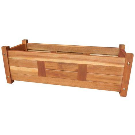 Hommoo Jardinera de madera de acacia 76x27,6x25 cm