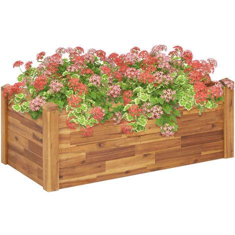 Hommoo Jardinera de madera maciza de acacia 110x60x44 cm