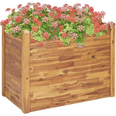 Hommoo Jardinera de madera maciza de acacia 110x60x84 cm