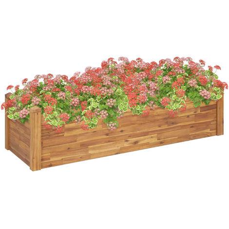 Hommoo Jardinera de madera maciza de acacia 160x60x44 cm