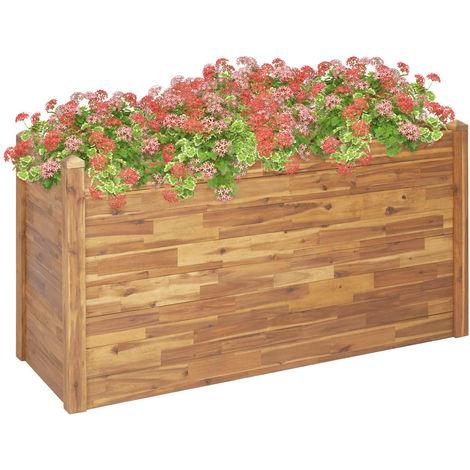 Hommoo Jardinera de madera maciza de acacia 160x60x84 cm