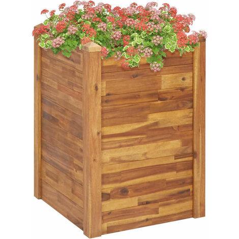 Hommoo Jardinera de madera maciza de acacia 60x60x84 cm