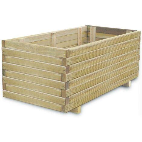 Hommoo Jardinera rectangular de madera 100x50x40 cm