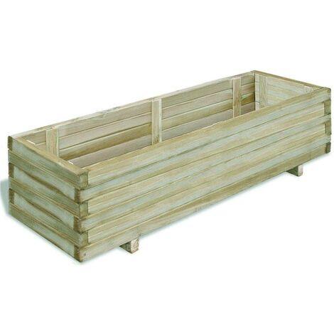 Hommoo Jardinera rectangular madera 120x40x30 cm