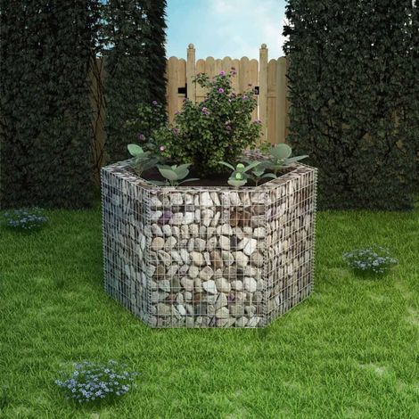 Hommoo Jardinière à gabion hexagonale 160 x 140 x 100 cm
