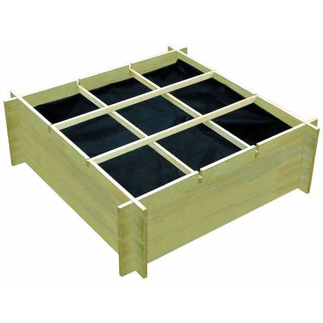 Hommoo Jardinière pour légumes Bois de pin imprégné FSC 120x120x40 cm