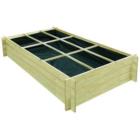 Hommoo Jardinière pour légumes Bois de pin imprégné FSC 197x100x40 cm