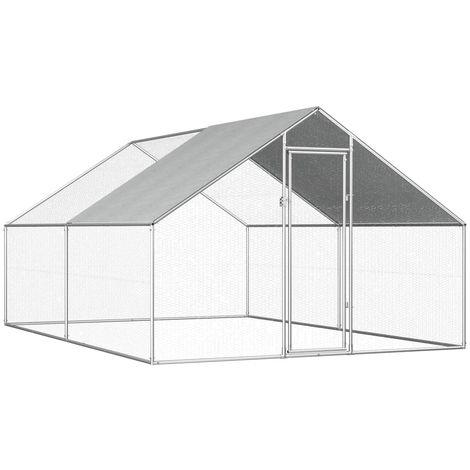 Hommoo Jaula gallinero de exterior de acero galvanizado 2,75x4x2 m