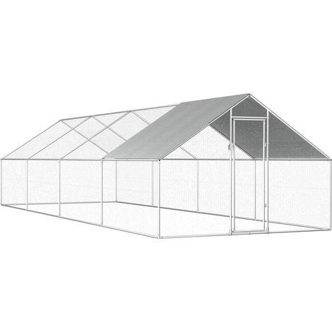 Hommoo Jaula gallinero de exterior de acero galvanizado 2,75x8x2 m
