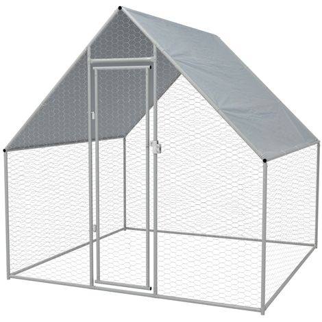 Hommoo Jaula gallinero de exterior de acero galvanizado 2x2x2 m
