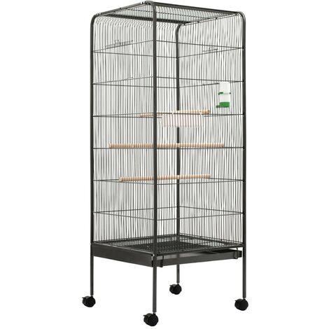 Hommoo Jaula para pájaros de acero gris 54x54x146 cm