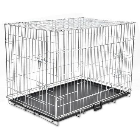 Hommoo Jaula para perros plegable de metal XL