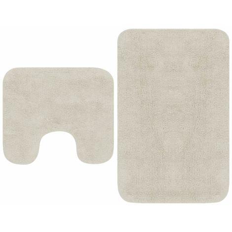 Hommoo Jeu de tapis de salle de bain 2 pcs Tissu Blanc