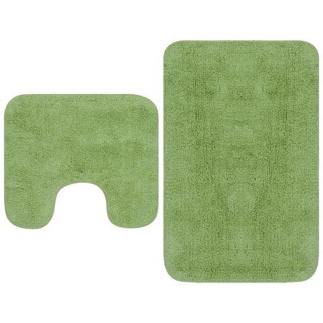 Hommoo Jeu de tapis de salle de bain 3 pcs Tissu Vert