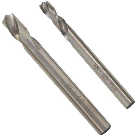 Hommoo Juego de brocas de 2 piezas para soldar 6/8 mm HSS-Cobalto
