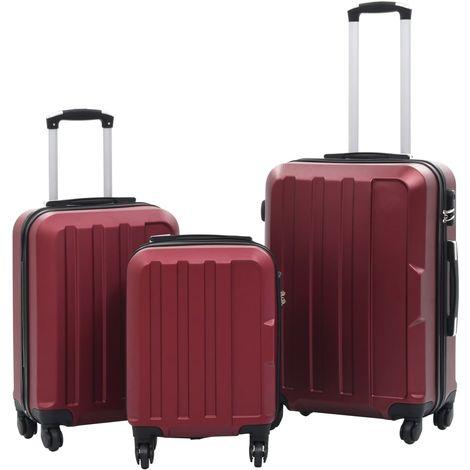 Hommoo Juego de maletas rígidas ruedas trolley 3 pzas rojo tinto ABS