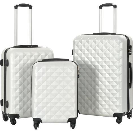 Hommoo Juego de maletas rígidas trolley 3 pzas plateado brillante ABS