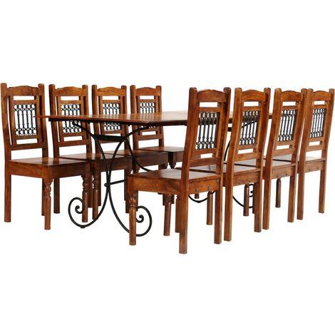 Hommoo Juego mesa comedor 9 piezas madera de acacia acabado sheesham