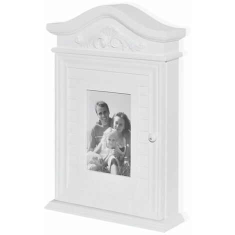Hommoo Key Cabinet with Photo Frame White QAH08572