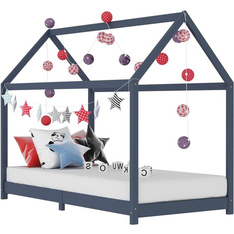 Hommoo Kids Bed Frame Grey Solid Pine Wood 70x140 cm VD24206