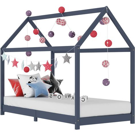 Hommoo Kids Bed Frame Grey Solid Pine Wood 90x200 cm VD24208