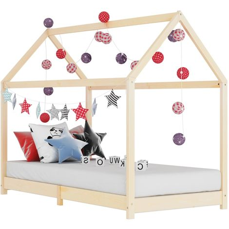 Hommoo Kids Bed Frame Solid Pine Wood 70x140 cm VD24200