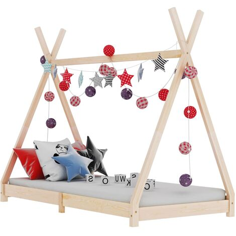 Hommoo Kids Bed Frame Solid Pine Wood 70x140 cm VD24209
