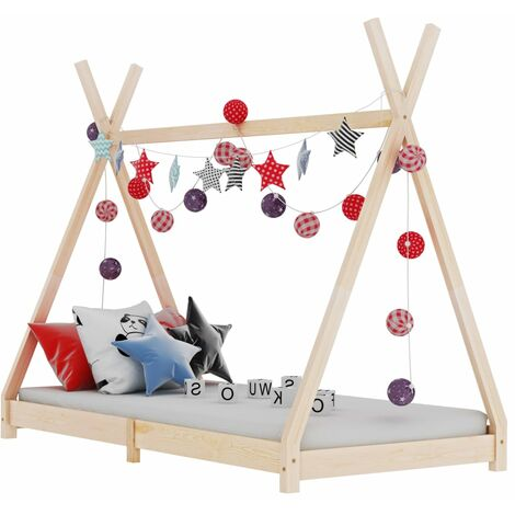 Hommoo Kids Bed Frame Solid Pine Wood 80x160 cm VD24210