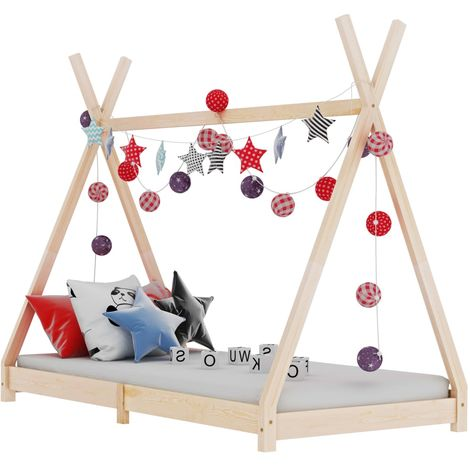 Hommoo Kids Bed Frame Solid Pine Wood 90x200 cm VD24211