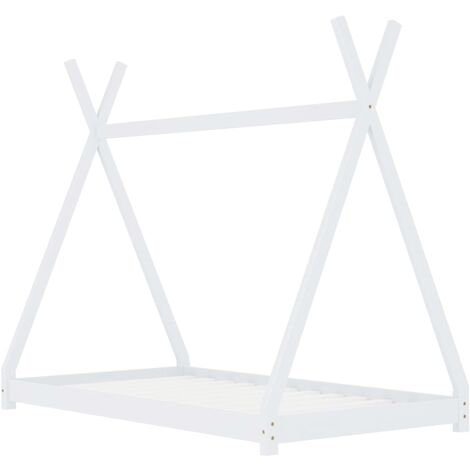Hommoo Kids Bed Frame White Solid Pine Wood 80x160 cm QAH24213