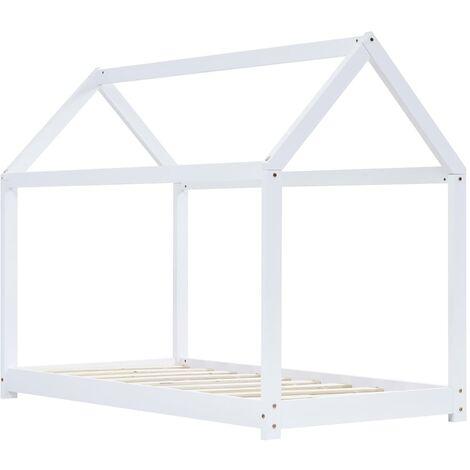 Hommoo Kids Bed Frame White Solid Pine Wood 90x200 cm QAH24205